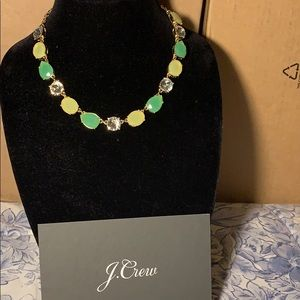 Jcrew necklace green yellow crystals